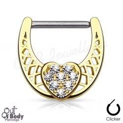 316L Steel Nipple Clicker W/ CZ Paved Center Heart In Gold IP