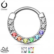 Septum Clicker Round Hinged Line of Clear/ Coloured CZ Gems