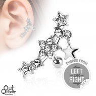 Cartilage/ Helix CZ Star Barbell W/ Star Dangle In Left/ Right