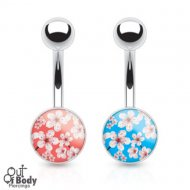 316L Surgical Steel Epoxy Coated Sakura Flower Belly Ring
