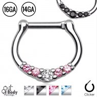 Septum Clicker Petite Gem Bell Curved Nose Ring In Mix Size