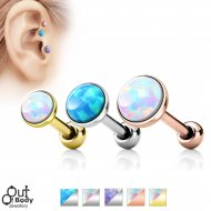 Cartilage/ Tragus Flat Top Barbell W/ Faux Opal Stone