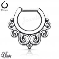 Septum Clicker Hinged Tribal Swirl Nose Ring