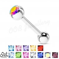 316L Surgical Steel Tongue Barbell W/ Single Gem Ball