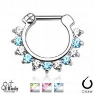 Septum Clicker Prong Set CZ Gem Row Duo Coloured Nose Ring
