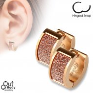 Square Rose Gold Sand Sparkle Hoop Earrings In Rose Gold IP
