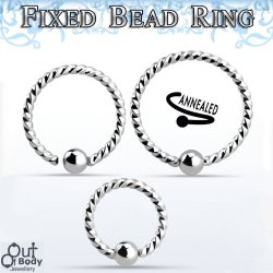 Hoop Captive Bead Twisted Ring W/ Micro Ball Fixed One Side