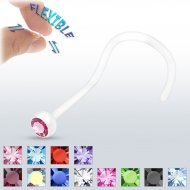20G Bioflex Clear Nose Screw W/ Assorted Bezel Set Gems