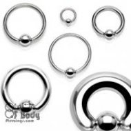 316L Steel Captive Bead Ring Nose/ Ear Hoop In Mixed Sizes