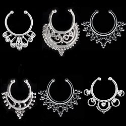 Septum Hanger Value 3PC Pack Silvery Non Piercing Nose Ring