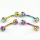 Eyebrow Barbell W/ Multi Gem Balls In Rainbow Titanium Plating