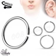 Hoop Nose Ring Rounded Ends W/ Annealed 316L Surgical Steel
