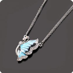 Crystal Pave Blue Enamel Butterfly Necklace