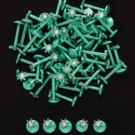 316L Steel Green Pot Leaf Threaded Top Labret W/ Gem