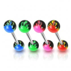 Acrylic Flame Balls 316L Surgical Steel Tongue Barbell