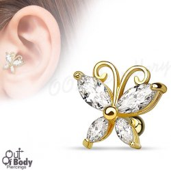 Cartilage/ Helix Marquise CZ Butterfly Barbell 14KT Gold Plated