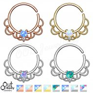 Septum Cartilage/ Ear Opal Centered Filigree Bendable Ring