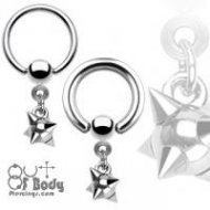 316L Steel Captive Bead Ring W/ Dangling Multi-Spike Ball