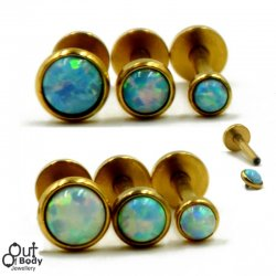 Ear Labret Stud W/ Opal Top Threaded In Gold Plating