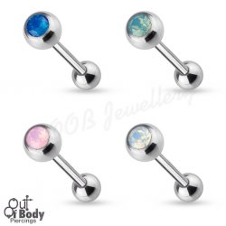 316L Steel Tongue Barbell W/ Natural Opalite Stone Top