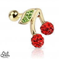 Cartilage/ Helix CZ Ferido Wild Cherry Top Barbell In Gold IP