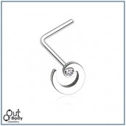 Spiral Swirl W/ Sparkle CZ L-Bend Nose Ring
