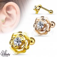 Cartilage/ Tragus Barbell W/ CZ Centered Flower IP Rose Gold