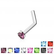 18G/ 20G/ 22G Prong Set Round CZ L-Bend 316L Steel Nose Ring
