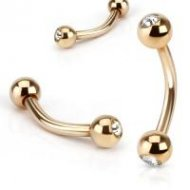 316L Steel Curved Eyebrow Barbell In IP Rose Gold W/ Gem Ball
