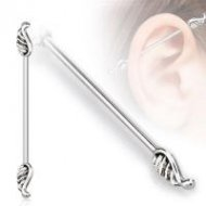 Industrial Barbell 316L Surgical Steel W/ Angel Wings