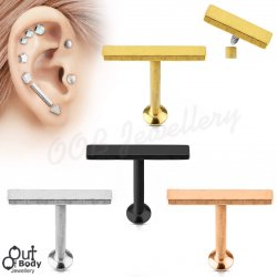 Ear Labret Stud W/ 12mm Bar Top Internally Threaded 316L