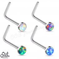 20G Opal Flat Top L-Bend Nose Stud 316L Surgical Steel