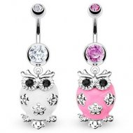 Pink Or White Dangling Owl Belly Rings
