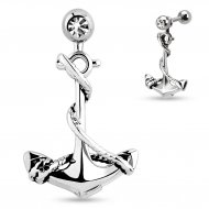 Cartilage/ Helix Barbell W/ Gem Ball & Dangling Anchor Charm