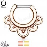 Septum Clicker Hinged Flower Petals W/ Gold IP Nose Ring