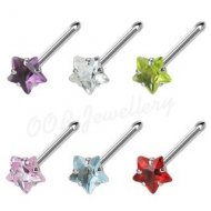 18G/ 20G Prong Set Star CZ 316L Surgical Steel Nose Stud Bone