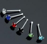 Sterling Silver Prong Set Square Colourful CZ Nose Stud