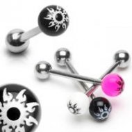 316L Steel Tongue Barbell With Acrylic Tribal Starburst Balls