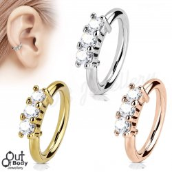 Ear Cartilage Hoop Ring Bendable W/ 3 Lined CZ