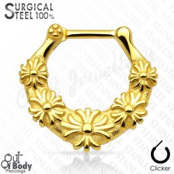 Septum Clicker All 316L Surgical Steel Daisy Chain W/ IP Gold
