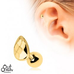 Cartilage/ Tragus Barbell W/ Faceted Teardrop Earring Gold Plate