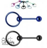 Slave Ring Tongue Barbell W/ Titanium Plated Over 316L Steel