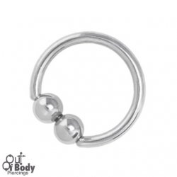 316L Steel Captive Bead Ring W/ Joined Double Ball