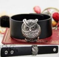 Silvery Wise Owl Black Wristband