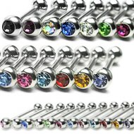 Cartilage/ Tragus Barbell 316L Steel W/ Press Fit Gem Ball