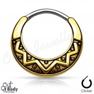 Septum Clicker Round Hinged Tribal Design W/ Gold IP