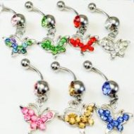 Butterfly Paved W/ Rhinestone Belly Ring