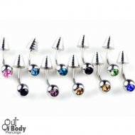 Curved Eyebrow Barbell W/ Gem Set Ball & Stepped Cone