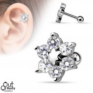 Cartilage/ Helix CZ Set Flower Top In 316L Steel Barbell