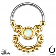 Septum Clicker Round Hinged Exotic White Fire Opal Gold IP
